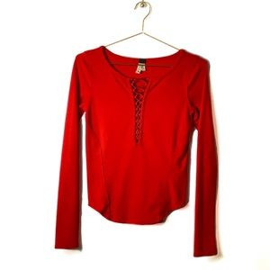 FREE PEOPLE Red Sexy Lace-Up Long Sleeve Shirt